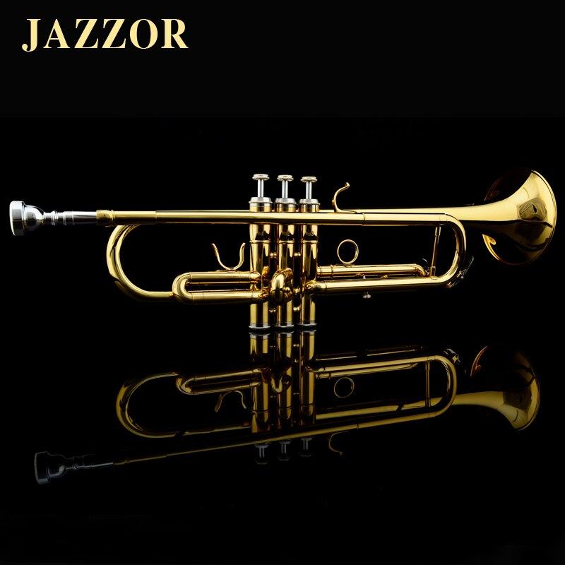 Professional JAZZOR JZTR 300 Beginner Trumpet B Flat Gold Lacquer trompete trompeta musical instruments trumpet mouthpiece