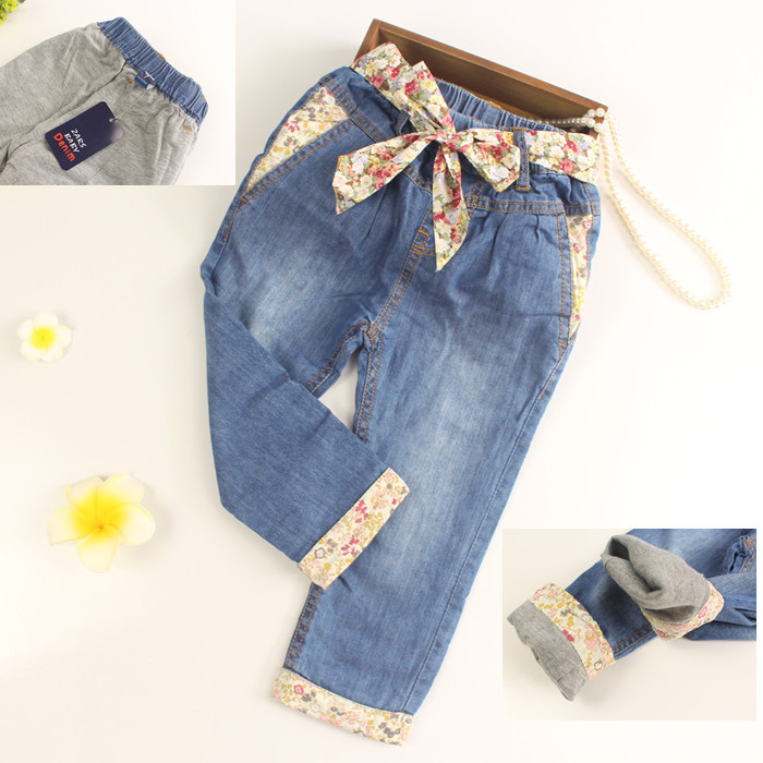 Baby Girls Cotton Denim Jeans Girls Double-fabric Jeans Kids Cotton Soft Jeans Child Autumn Long Pants With Flower-belt