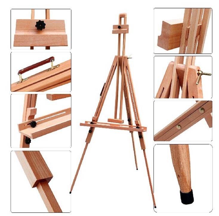 ФОТО Sketched folding telescopic triangular easel high quality red beech wood pallet rack sketch easel