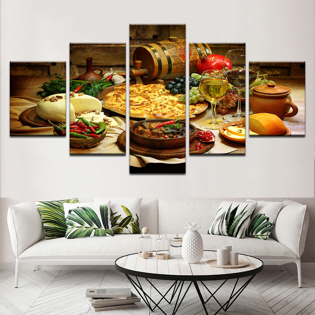 865ccd4ccf0c Home Decor Painting Modern Wall Art Frame Restaurant Kitchen Modular  Posters Pictures 5 Pieces Food And Drinks HD Printed Canvas
