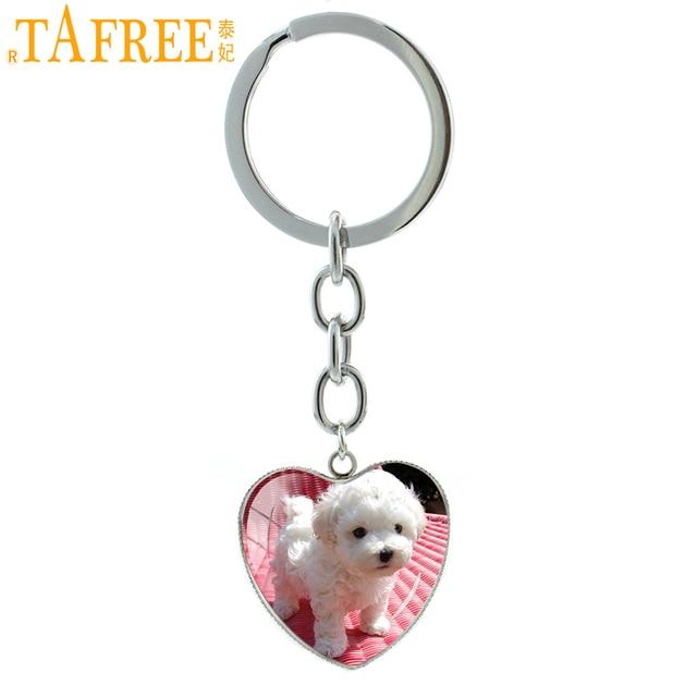 TAFREE Branco Bonito Poodle Cão de Estimação Chaveiros Coração Forma de Arte Imagem Pingente Cúpula de Vidro Fivela Chave & Chaveiros Jóias Presente e771