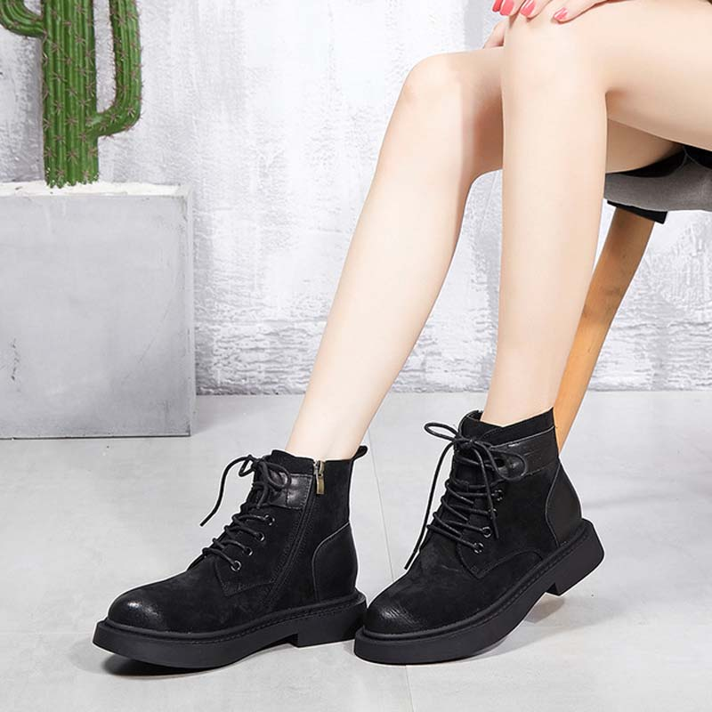 2018 autumn and winter new Martin boots female British wind side zipper leather single boots thick with round head boots