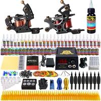 Beginner Tattoo Kit 2 Pro Machine Power Supply Needle Grips Tips TK211