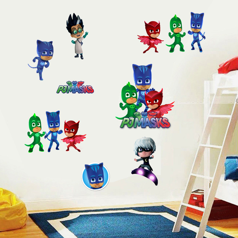 Cute 3d PJ mask wall stickers for kids rooms removable DIY ...