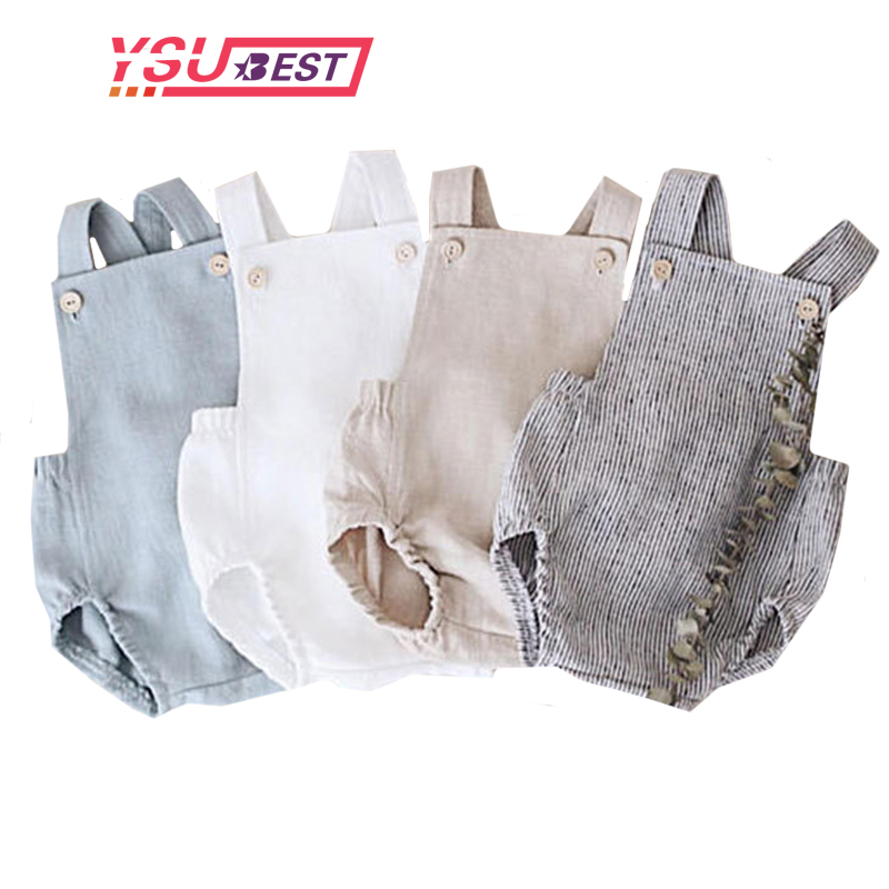 0-3Y Baby Clothes Lovely Baby Boys Summer Romper Infant Girl Solid Rompers New Baby Lovely One-pieces Kids Boy Suspender Romper