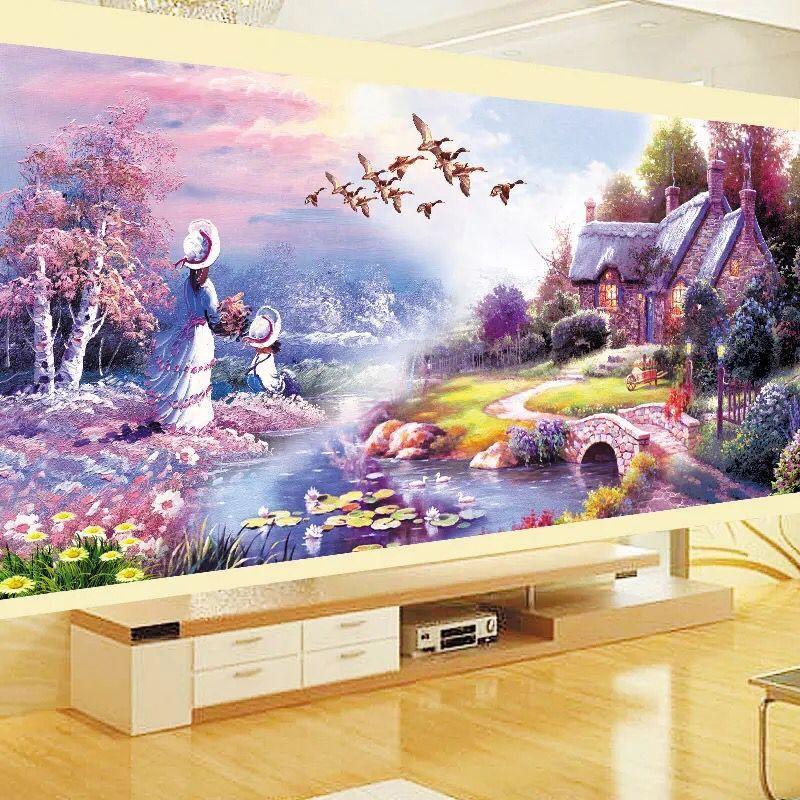 2017 new DIY 5D diamond paintings, new purple Garden Cottages, cross stitch suites, diamond embroidery, home decor
