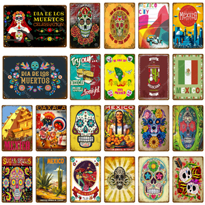 Mexico City Signs Mexican Culture Sugar Skull Metal Poster Wall Stickers Vintage Art Painting Plaque For Pub Bar Club Home Decor(China)