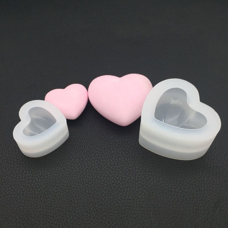 Silicone Mold Mirror Heart Shape 3D Smooth Crafts DIY Jewelry Making Handmade Cake Fondant Epoxy Resin Molds Decoration Tool