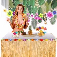 FENGRISE Flowers Artificial Grass Table Skirt Hawaiian Party Decor Flamingo Luau Hawaii Summer