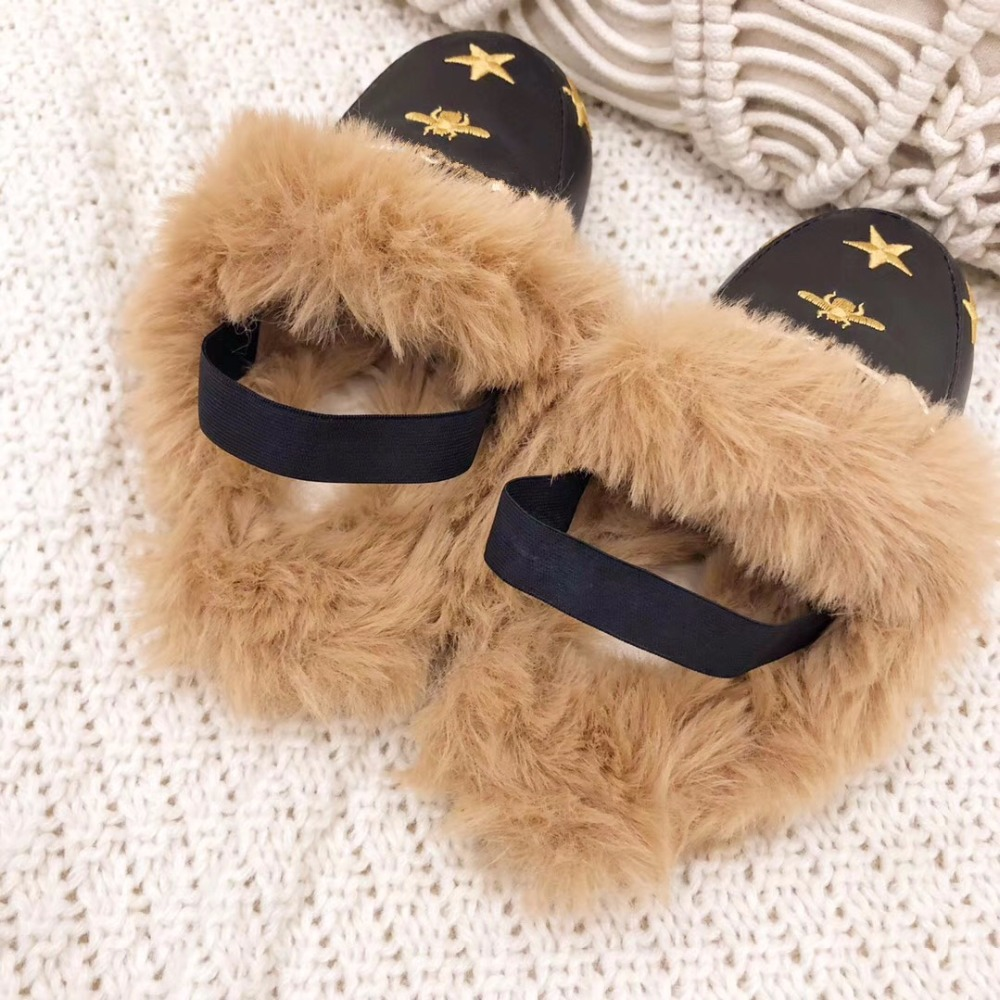 Winter High Fashion Kids Embroidery Fur Loafers for Baby Girls Slip On Leather Shoes