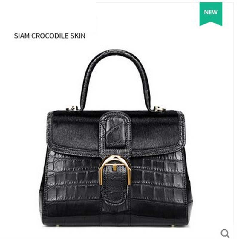 gete 2017 New crocodile skin belly women hand bag Thai crocodile leather seal leather handbag women Bag Girl