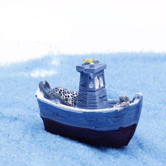 Miniatur Kunstliche Mini Yacht Schiff Fischerboot Micro Kleine Welt Landschaftsbau Dekoration Diy Handwerk