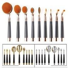 EmaxDesign 9 Pcs Oval Golf Toothbrush Shaped Lip Powder Blusher Foundation Eyeshadow Eyeliner Concealer Makeup Brushes Set