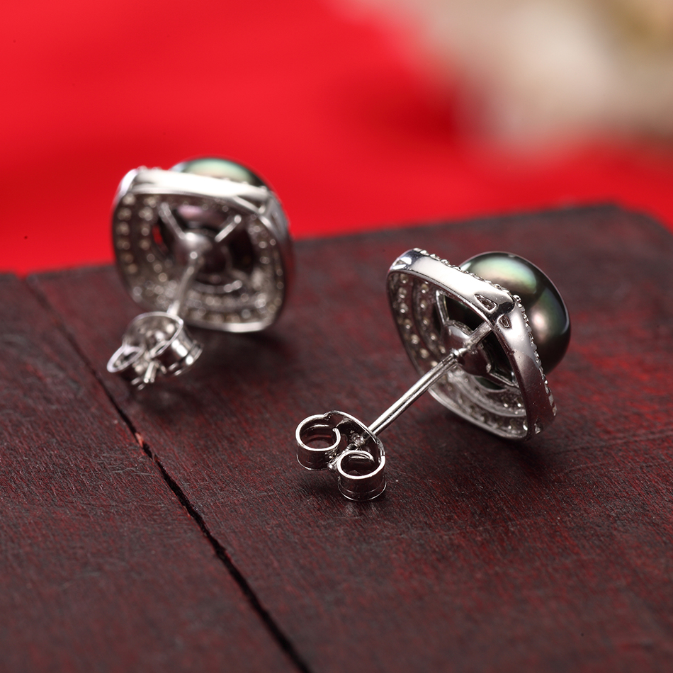 Luxury Black Pearl Stud Earrings for Women Anniversary Jewelry 8 9MM Freshwater Pearls 925 Sterling Silver Earring Gifts FEIGE in Earrings from Jewelry Accessories