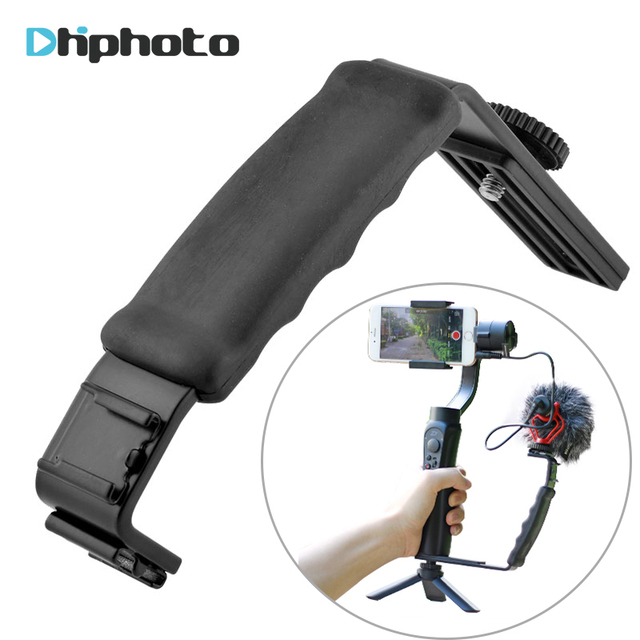Smooth Q 4 Mic Stand L Bracket Camera Handle Grip for Zhiyun Smooth 4 DJI Osmo LED Light Rode Videomicro with 2 Hot Shoe Mounts