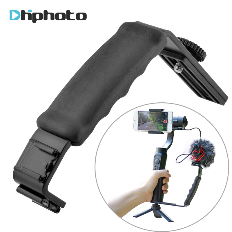 Smooth Q Mic Stand L Bracket Camera Handle Grip with 2 Hot Shoe Mounts for Zhiyun Smooth 4/DJI Osmo/Rode Videomicro microphone