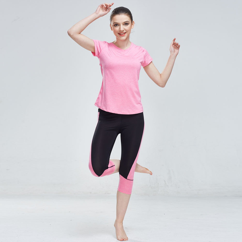 Sport Suit Women Yoga Set Gym Clothes Fitness TShirt + Patchwork Pants Running Tights Jogging Workout Yoga Leggings Sportswear