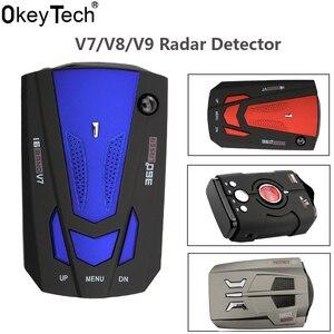 OkeyTech V9/V7/V8 Best Car 360 Degree 16 Band LED Display Anti Radar Detector Speed Voice Alert Warning for Russia / English