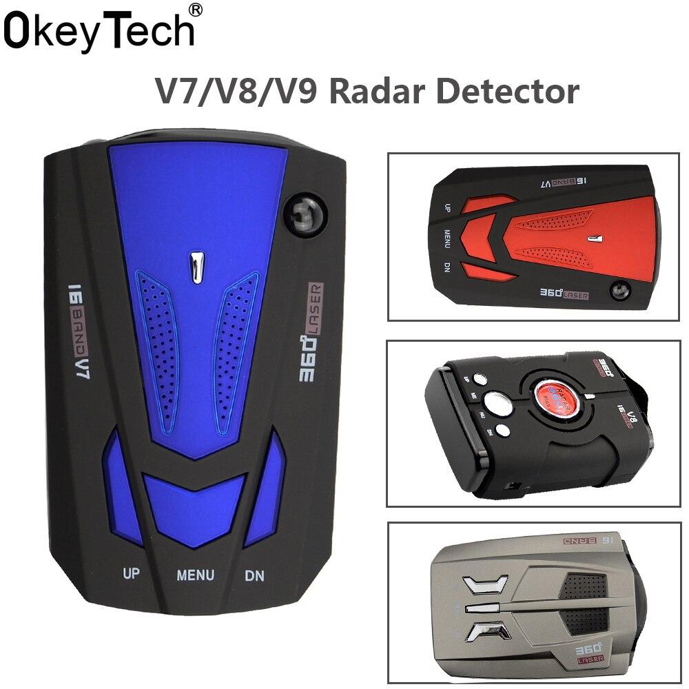 OkeyTech V9/V7/V8 Best Car Radar Detector 360 Degrees LED Display Alert Warning Anti Radar Detectors Russia / English Voice