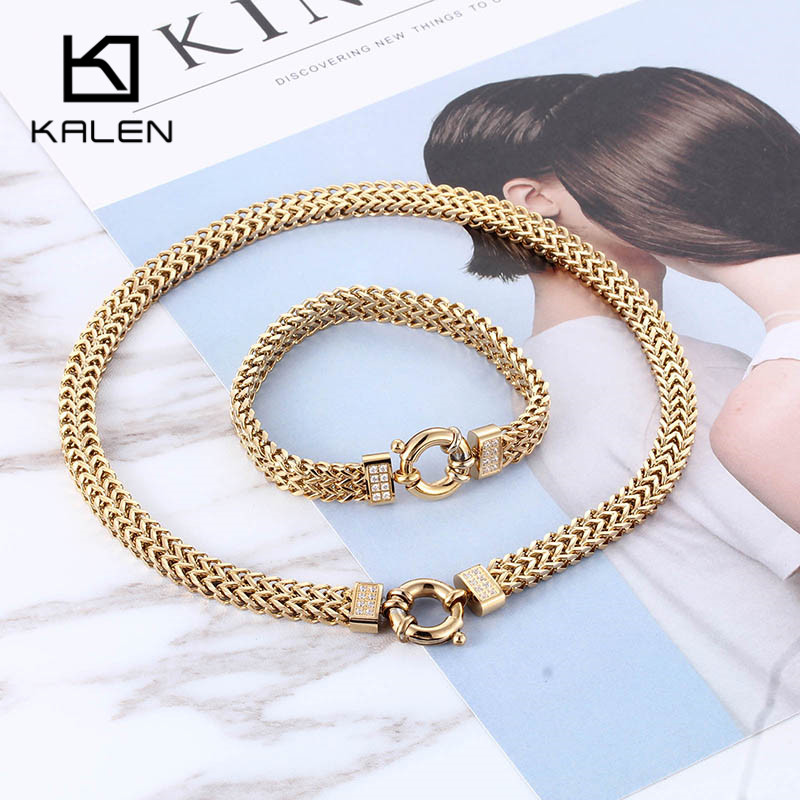 Cool African Chain Jewelry Set Luxury Gold Color 40cm Necklace & Bracelet Sets Clear Rhinestone Jewelry Set Men Hip Hop Jewelry