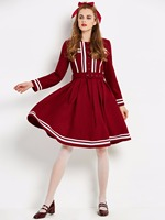 2017 New Winter Vintage Dress Sailor Collar Sashes Designer Gown Knee Length Women A Line Clothes