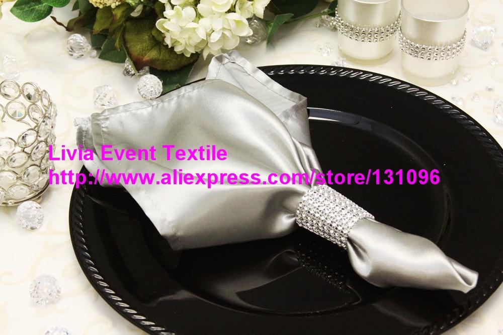 100pcs #56 Light Sliver Satin Napkin 45x45cm ,Table Napkin For Weddings Events &Party&Restaurant &Hotel