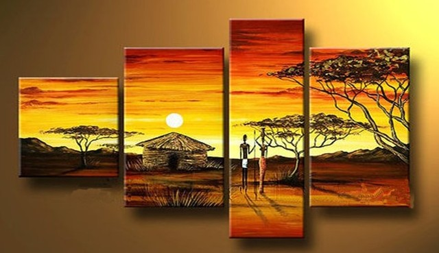 handmade 4 piece modern landscape decorative oil painting on canvas ...