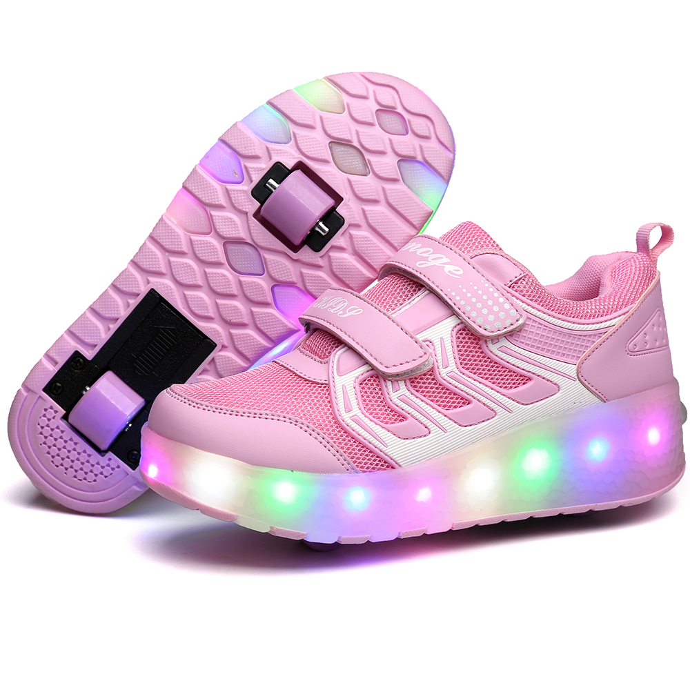 New Pink Orange USB Charging Fashion Girls Boys LED Light Roller Skate Shoes For Children Kids Sneakers With Wheels Two wheelsNew Pink Orange USB Charging Fashion Girls Boys LED Light Roller Skate Shoes For Children Kids Sneakers With Wheels Two wheels