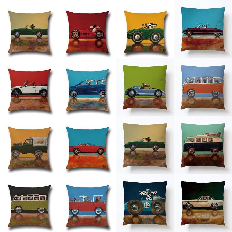 Qisen Lovely Cartoon Dog Driving Car Vintage Almofadas 45X45CM Linen Pillow Decorative Linen Cushion Cover