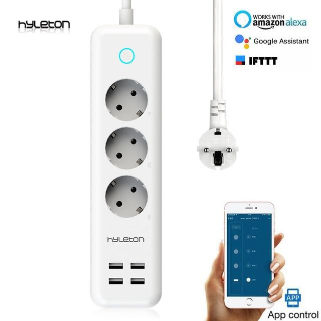 Hyleton inteligentna listwa zasilająca wtyczka Wi-Fi 3 gniazdo elektryczne 4 USB EU/uk/us zdalnego sterowania inteligentnego domu przełącznik sterowania do urządzeń gospodarstwa domowego