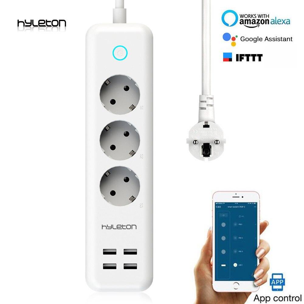 Hyleton smart multiprise wifi prise 3 AC outlet 4 USB EU/uk/us télécommande Smart Home interrupteur de commande pour appareil ménager