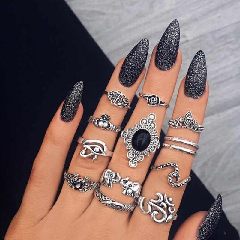 13 Pcs/set Bohemian Beach Retro Elephant Hollow Lotus Wave Gems Geometry Crystal Ring Set Women Charm Jewelry Accessories aneis