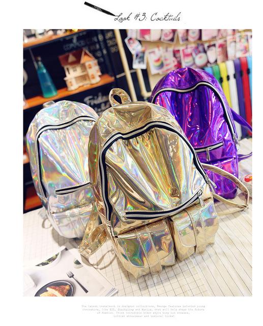 Women's Laser Glitter Design Backpack / Shoulder Bag