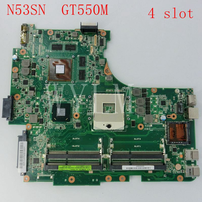 N53SN Mainboard For Asus N53SN N53SV Laptop motherboard REV2.2 HM65 GT550M 4 Slot 60-N4PMB1300-B02 ,100%Tested Working Well codificador for trd s100b well tested working