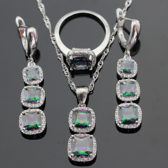 Ashley Multicolor Rainbow Cubic Zirconia Silver Color Jewelry Sets For Women Necklace Pendant Long Earrings Rings Gift Box