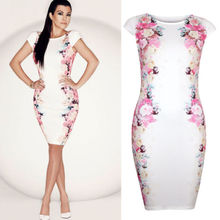 Neue Mode Womens Celeb Kurzarm Blumen Abend Party Bodycon Kleid