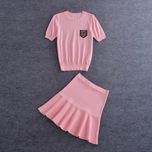 New 2016 summer fashion beading short sleeves women tops sweater + girls cute skirt knitted suits two pieces set pink
