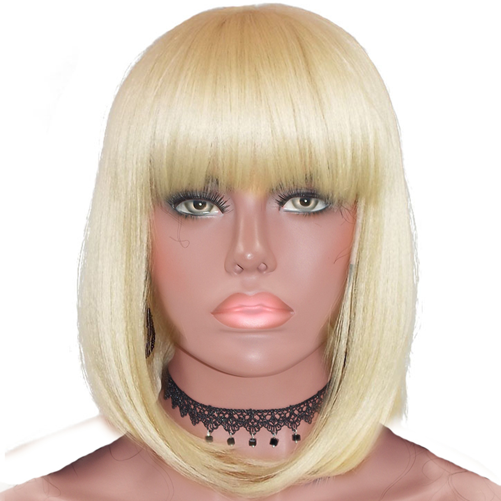 Eversilky Bangs Short Bob 613 Wig 360 Lace Frontal Human Hair Wigs For Women Peruvian Blonde Lace Front Wig Remy Hair Fringe Wig