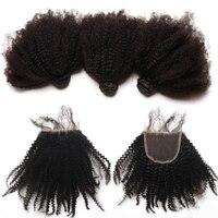 Afro Kinky Curly Bundles With Closure Mongolian Virgin Human Hair Weave 3 Bundles Hair With Closure Natural 4B 4C Hair CARA