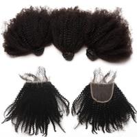 Mongolian Afro Kinky Curly Virgin Hair Human Hair Bundles With Closure 3 Bundles Hair Extension 4