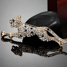 Blucome Men Leopard Animal Brooches Jewelry Fashion Men hijab Accessories White rhinestone Brooch Men's Party Anniversary Bijoux