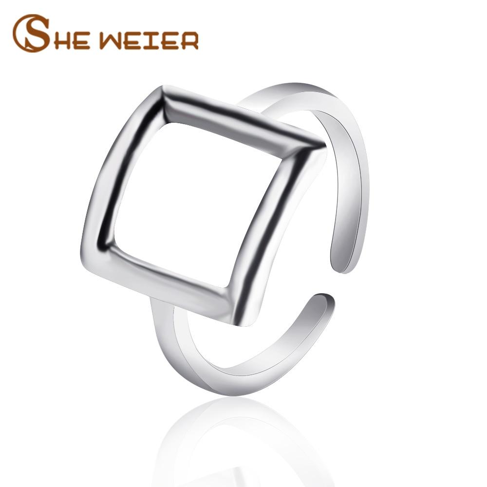 Она Вейер Регулируемый мужчины кольца для женщин Свадебные женские кольца пара мужской подарок на день Святого Валентина Bijouterie геометриче...