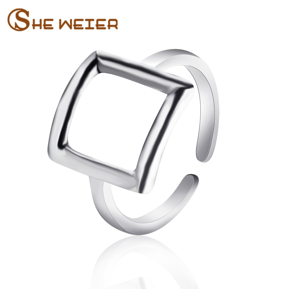 SHE WEIER adjustable men rings for women wedding female couple rings male valentine gift bijouterie girls Geometric