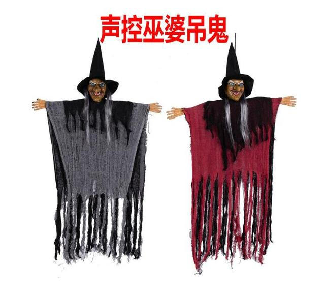 145cm halloween decoration horror sound control hung ghost witch mask scary haunted house bar room demoan