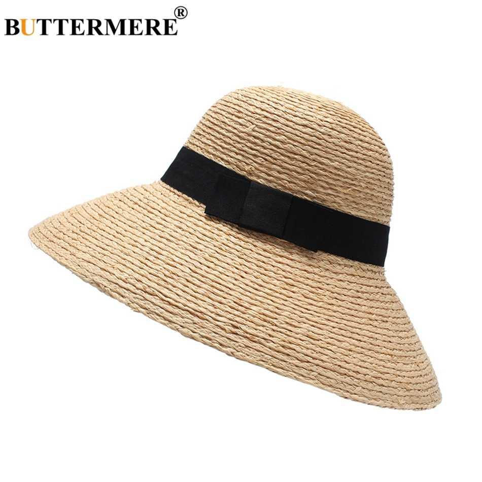 بوترمير واسعة حافة 12 سنتيمتر القبعات النساء الكاكي الرافية القش قبعة الشمس ماركة السيدات الشاطئ UV حماية الإناث قبعات صيفية وقبعات