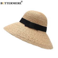 BUTTERMERE Wide Brim 12cm Hats Women Khaki Raffia Straw Sun Hat Ladies Brand Beach UV Protection Female Summer And Caps