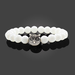 Image 4 - Classic Natural Stone Men Bracelet Matte Black Lava Volcanic Beads Charm Owl Strand Bracelets Women Prayer Jewelry