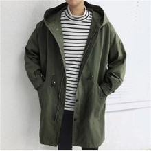 Hooded Men Trench Coat Big Pocket Men Trench Coat Spring Casual Loose Trench Coat Men 2019 Single Breasted Army Green cheap 2000001 Solid REGULAR Polyester Acrylic Polyamide COTTON Long Full NoEnName_Null Thick NONE Hip Hop Slim Conventional Knitted