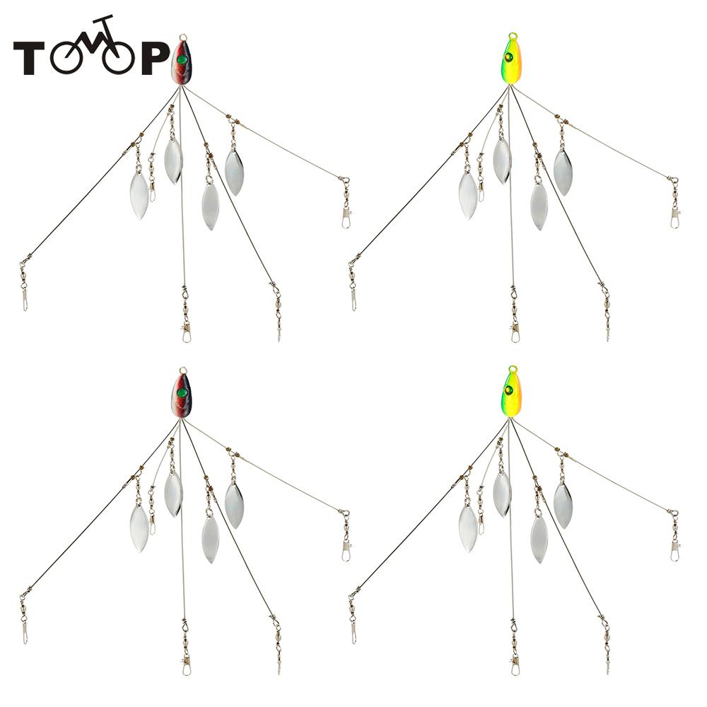 4pcs fish lure umbrella rigs fishing baits lures bass fishing rigs five arm blades wire multi lure rig kit with barrel swivels [ 1000 x 1000 Pixel ]