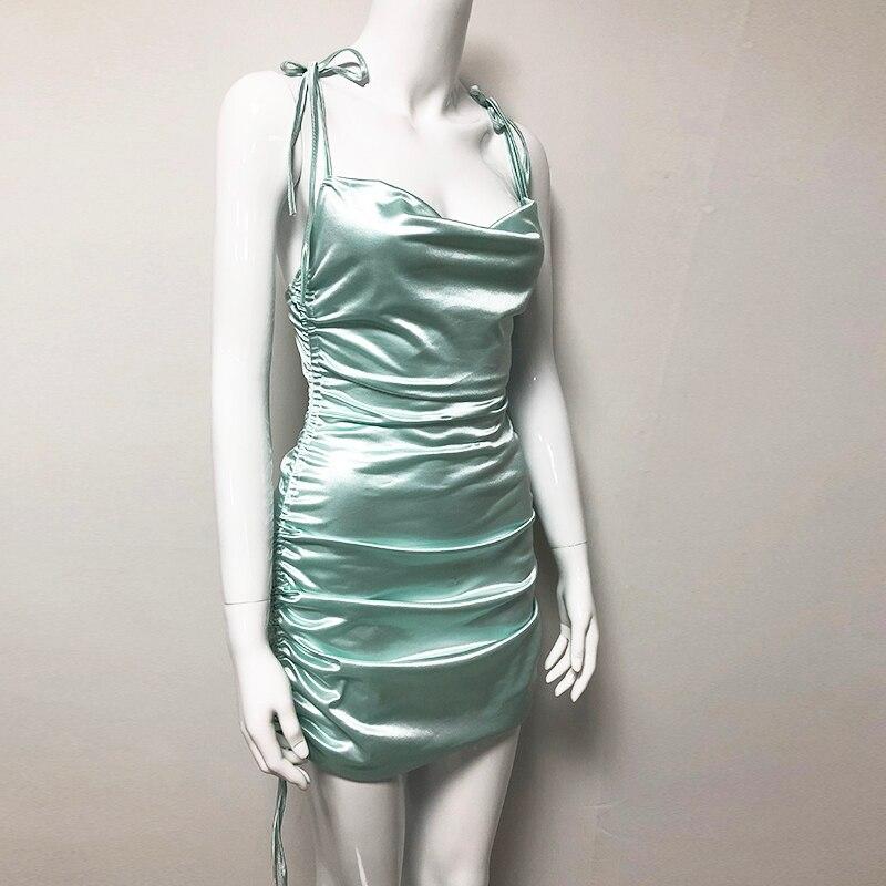Colysmo Sexy Summer Dress 2019 Women Spaghetti Straps Bodycon Dress Slim Stretch Multi Wear Ruched Club Satin Dress Vestidos New